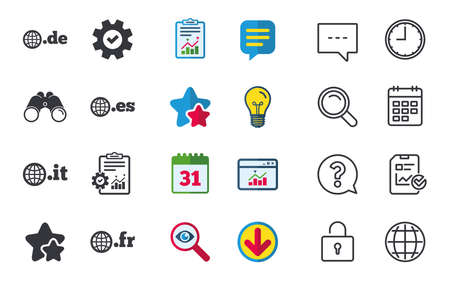 Top-level internet domain icons. De, It, Es and Fr symbols with globe. Unique national DNS names. Chat, Report and Calendar signs. Stars, Statistics and Download icons. Question, Clock and Globe Illustration