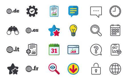 Top-level internet domein pictogrammen. De, It, Es en Fr symbolen met globe. Unieke nationale DNS-namen. Chat-, rapport- en kalenderborden. Sterren, Statistieken en Download pictogrammen. Vraag, klok en wereld