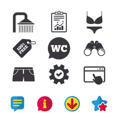 Swimming pool icons. Shower water drops and swimwear symbols. WC Toilet speech bubble sign. Trunks and women underwear. Browser window, Report and Service signs. Vector Ilustrace