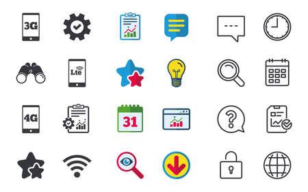 Icônes de télécommunications mobiles. Symboles de technologie 3G, 4G et LTE. Panneaux d'évolution Wi-Fi Wireless and Long-Term. Signes de chat, de rapport et de calendrier. Étoiles, statistiques et icônes de téléchargement. Vecteur