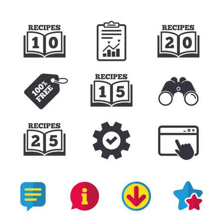 Kookboekpictogrammen. 10, 15, 20 en 25 recepten boekenbordsymbolen. Browservenster, rapport en serviceborden. Verrekijker, informatie en download pictogrammen. Sterren en chatten. Vector Stockfoto - 81302941