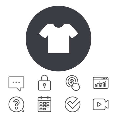 T-shirt sign icon. Clothes symbol. Calendar, Locker and Speech bubble line signs. Video camera, Statistics and Question icons. Vector