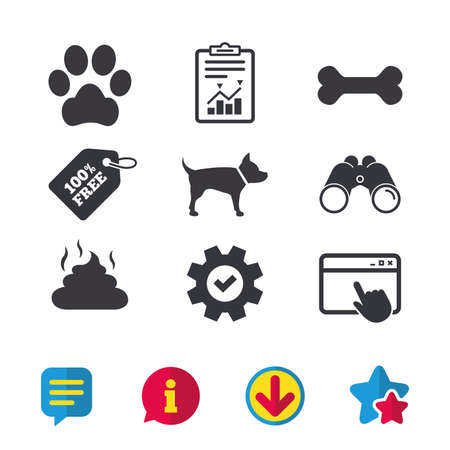 Pets icons. Dog paw and feces signs. Clean up after pets. Pets food. Browser window, Report and Service signs. Binoculars, Information and Download icons. Stars and Chat. Vector