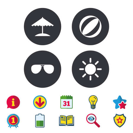 Beach holidays icons. Ball, umbrella and sunglasses signs. Summer sun symbol. Calendar, Information and Download signs. Stars, Award and Book icons. Light bulb, Shield and Search. Vector