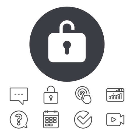 Lock sign icon. Login symbol. Calendar, Locker and Speech bubble line signs. Video camera, Statistics and Question icons. Vector Illustration