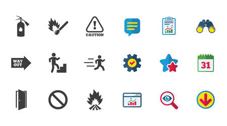 Fire safety, emergency icons. Fire extinguisher, exit and attention signs. Caution, water drop and way out symbols. Calendar, Report and Download signs. Stars, Service and Search icons. Vector
