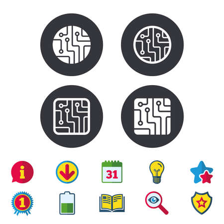 Circuit board icons. Technology scheme circles and squares sign symbols. Calendar, Information and Download signs. Stars, Award and Book icons. Light bulb, Shield and Search. Vector Vektorové ilustrace