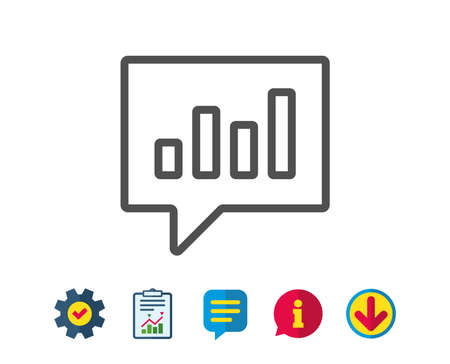 Chart line icon. Report graph or Sales growth sign in speech bubble. Analysis and Statistics data symbol. Report, Service and Information line signs. Download, Speech bubble icons. Editable stroke Illusztráció