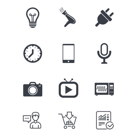 Home appliances, device icons. Electronics signs. Lamp, electrical plug and photo camera symbols. Customer service, Shopping cart and Report line signs. Online shopping and Statistics. Vector