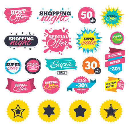 Sale shopping banners. Star of David icons. Sheriff police sign. Symbol of Israel. Web badges, splash and stickers. Best offer. Vector Imagens - 81304151