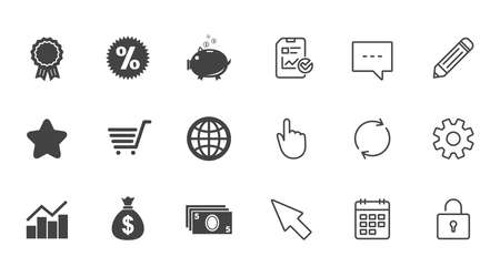Online shopping, e-commerce and business icons. Piggy bank, award and star signs. Cash money, discount and statistics symbols. Chat, Report and Calendar line signs. Service, Pencil and Locker icons