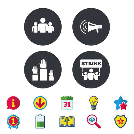 referendum: Strike group of people icon. Megaphone loudspeaker sign. Election or voting symbol. Hands raised up. Calendar, Information and Download signs. Stars, Award and Book icons. Vector