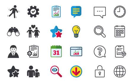 Businessman person icon. Group of people symbol. Man love Woman or Lovers sign. Caution slippery. Chat, Report and Calendar signs. Stars, Statistics and Download icons. Question, Clock and Globe