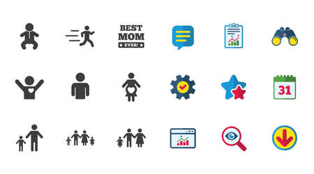 People, family icons. Maternity, person and baby signs. Best mom, father and mother symbols. Calendar, Report and Download signs. Stars, Service and Search icons. Statistics, Binoculars and Chat Illustration