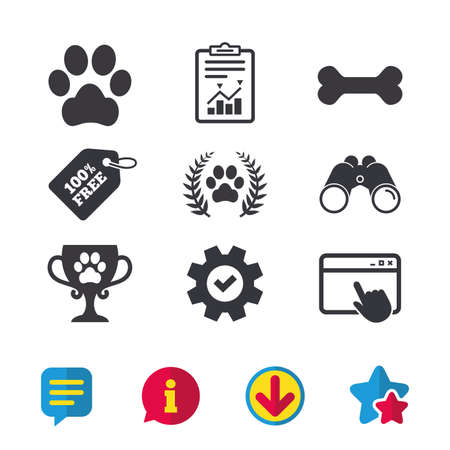 Pets icons. Dog paw sign. Winner laurel wreath and cup symbol. Pets food. Browser window, Report and Service signs. Binoculars, Information and Download icons. Stars and Chat. Vector Illustration