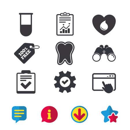 Medizinische symbole. Zahn, Reagenzglas, Blutspende und Checklistenzeichen. Symbol für Laborausstattung. Zahnpflege. Browserfenster, Bericht und Dienstzeichen. Ferngläser, Informations- und Download-Symbole Standard-Bild - 81304258