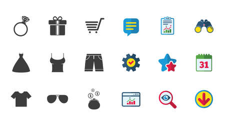 Clothes, accessories icons. T-shirt, sunglasses signs. Wedding dress and ring symbols. Calendar, Report and Download signs. Stars, Service and Search icons. Statistics, Binoculars and Chat. Vector