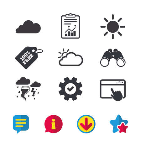 Weather icons. Cloud and sun signs. Storm or thunderstorm with lightning symbol. Gale hurricane. Browser window, Report and Service signs. Binoculars, Information and Download icons. Stars and Chat
