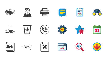 Office, documents and business icons. Printer, handshake and phone signs. Boss, recycle bin and eraser symbols. Calendar, Report and Download signs. Stars, Service and Search icons. Vector Çizim