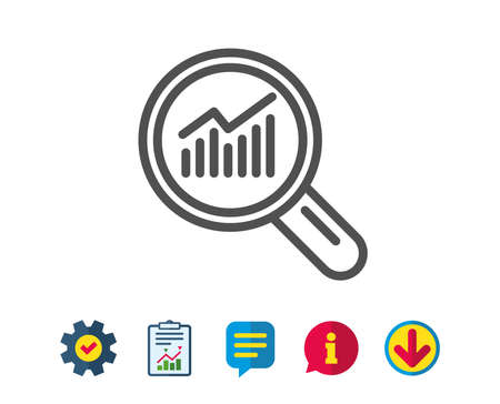 Chart line icon. Report graph or Sales growth sign in Magnifying glass. Analysis and Statistics data symbol. Report, Service and Information line signs. Download, Speech bubble icons. Editable stroke