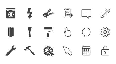 Repair, construction icons. Electricity, keys and hammer signs. Door, washing machine and service symbols. Chat, Report and Calendar line signs. Service, Pencil and Locker icons. Vector Illustration