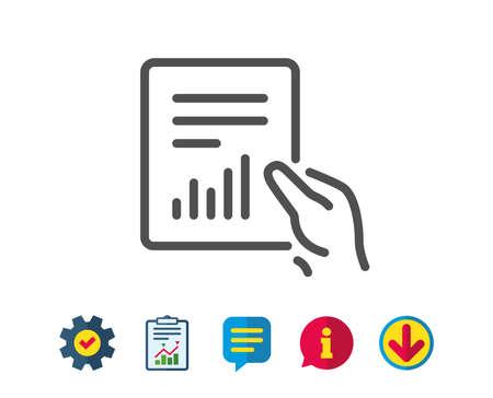 보류 리포트 문서 아이콘. 분석 차트 또는 판매 성장 기호입니다. 통계 데이터 기호입니다. 보고, 서비스 및 정보 라인 표지판. 다운로드, 연설 거품 아