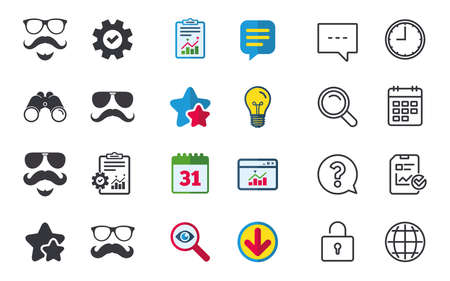 Mustache and Glasses icons. Hipster with beard symbols. Facial hair signs. Chat, Report and Calendar signs. Stars, Statistics and Download icons. Question, Clock and Globe. Vector