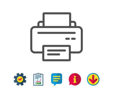 Printer icon. Printout Electronic Device sign. Office equipment symbol. Report, Service and Information line signs. Download, Speech bubble icons. Editable stroke. Vector