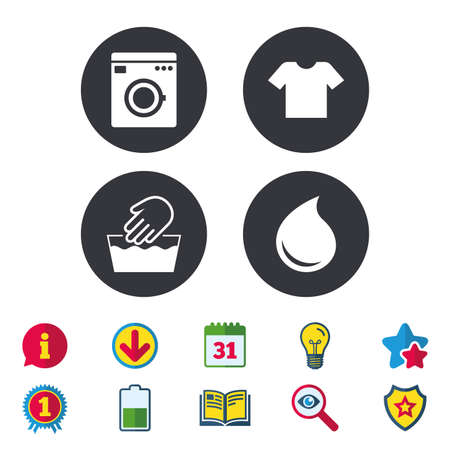 Wash machine icon. Hand wash. T-shirt clothes symbol. Laundry washhouse and water drop signs. Not machine washable. Calendar, Information and Download signs. Stars, Award and Book icons. Vector