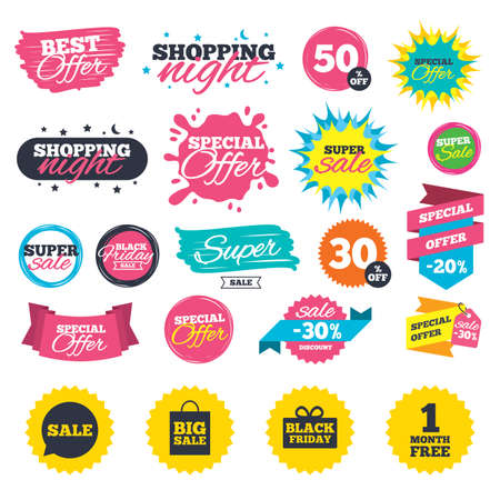 Sale shopping banners. Sale speech bubble icon. Black friday gift box symbol. Big sale shopping bag. First month free sign. Web badges, splash and stickers. Best offer. Vector
