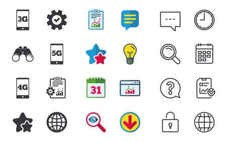 Mobiele telecommunicatiepictogrammen. Symbolen voor 3G, 4G en 5G-technologie. Wereldbol teken. Chat-, rapport- en kalenderborden. Sterren, Statistieken en Download pictogrammen. Vraag, klok en wereld. Vector Stock Illustratie