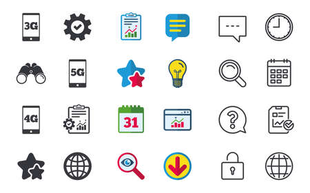 Mobile telecommunications icons. 3G, 4G and 5G technology symbols. World globe sign. Chat, Report and Calendar signs. Stars, Statistics and Download icons. Question, Clock and Globe. Vector Фото со стока - 81304486