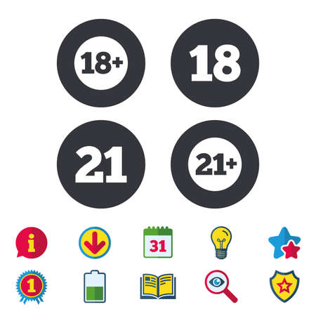 Adult content icons. Eighteen and twenty-one plus years sign symbols. Calendar, Information and Download signs. Stars, Award and Book icons. Light bulb, Shield and Search. Vector