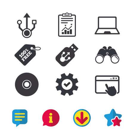 Usb フラッシュ ドライブのアイコン。ノートブックまたはラップトップ pc のシンボル。CD または DVD の符号。コンパクト ディスク。ブラウザー ウィ  イラスト・ベクター素材