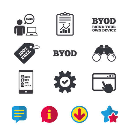 BYOD icons. Human with notebook and smartphone signs. Speech bubble symbol. Browser window, Report and Service signs. Binoculars, Information and Download icons. Stars and Chat. Vector