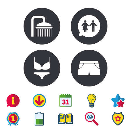 Swimming pool icons. Shower water drops and swimwear symbols. WC Toilet speech bubble sign. Trunks and women underwear. Calendar, Information and Download signs. Stars, Award and Book icons. Vector