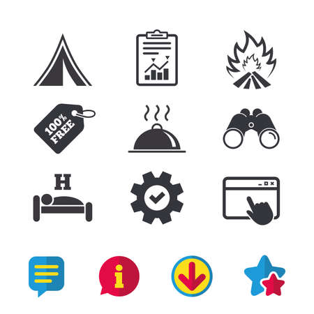 breakfast in bed: Hot food, sleep, camping tent and fire icons. Hotel or bed and breakfast. Road signs. Browser window, Report and Service signs. Binoculars, Information and Download icons. Stars and Chat. Vector Illustration