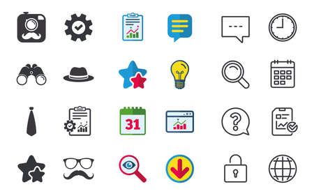 Hipster photo camera with mustache icon. Glasses and tie symbols. Classic hat headdress sign. Chat, Report and Calendar signs. Stars, Statistics and Download icons. Question, Clock and Globe. Vector