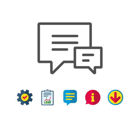 Chat line icon. Speech bubble sign. Communication or Comment symbol. Report, Service and Information line signs. Download, Speech bubble icons. Editable stroke. Vector