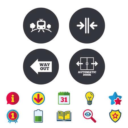 鉄道鉄道アイコン。地上輸送。自動ドアの記号です。矢印の方法に署名します。カレンダー、情報およびダウンロードに署名します。星、賞および  イラスト・ベクター素材