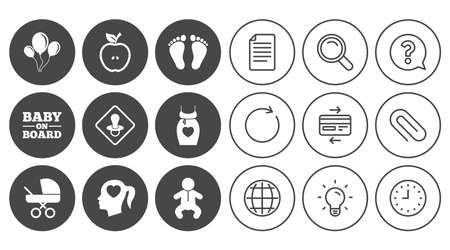 Pregnancy, maternity and baby care icons. Air balloon, baby carriage and pacifier signs. Footprint, apple and newborn symbols. Document, Globe and Clock line signs. Vector Illustration