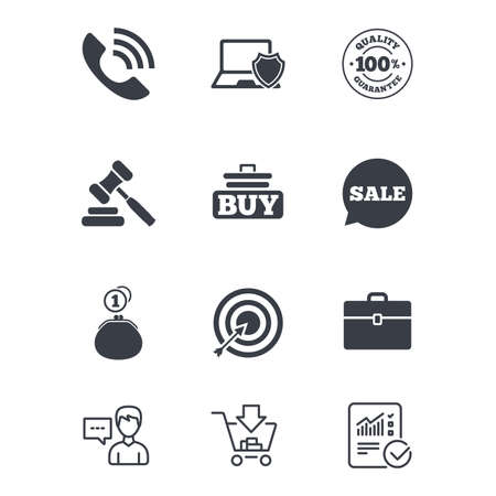 Online shopping, e-commerce and business icons. Auction, phone call and sale signs. Cash money, case and target symbols. Customer service, Shopping cart and Report line signs. Vector Illustration