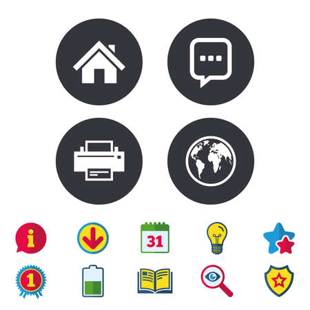 Home main page and globe icons. Printer and chat speech bubble with suspension points sign symbols. Calendar, Information and Download signs. Stars, Award and Book icons. Light bulb, Shield and Search