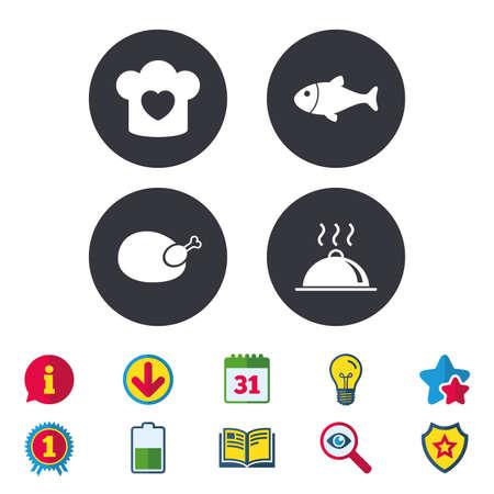 Chapeau de chef avec des icônes de coeur et de cuisson. Signes de poisson et de poulet. Symbole de service plateau de nourriture chaude. Calendrier, informations et symboles de téléchargement. Étoiles, récompenses et icônes du livre. Vecteur Banque d'images - 81303896