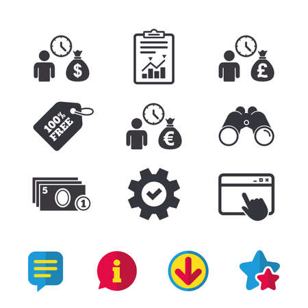Bank loans icons. Cash money bag symbols. Borrow money sign. Get Dollar money fast. Browser window, Report and Service signs. Binoculars, Information and Download icons. Stars and Chat. Vector