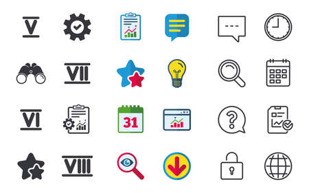 Roman numeral icons. 5, 6, 7 and 8 digit characters. Ancient Rome numeric system. Chat, Report and Calendar signs. Stars, Statistics and Download icons. Question, Clock and Globe. Vector