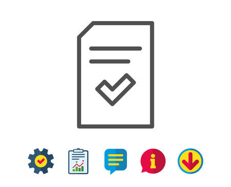 Checked Document line icon. Information File with Check sign. Correct Paper page concept symbol. Report, Service and Information line signs. Download, Speech bubble icons. Editable stroke. Vector Çizim