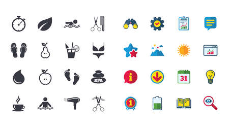Set of Swimming pool, Spa and Hairdressing icons. Coffee, Cocktail and Apple signs. Water drop, Scissors and Hairdryer symbols. Calendar, Report and Browser window signs. Vector Çizim