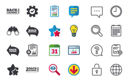 Back to school icons. Studies after the holidays signs. Pencil symbol. Chat, Report and Calendar signs. Stars, Statistics and Download icons. Question, Clock and Globe. Vector