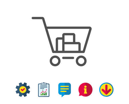 Shopping cart line icon. Online buying sign. Supermarket basket symbol. Report, Service and Information line signs. Download, Speech bubble icons. Editable stroke. Vector